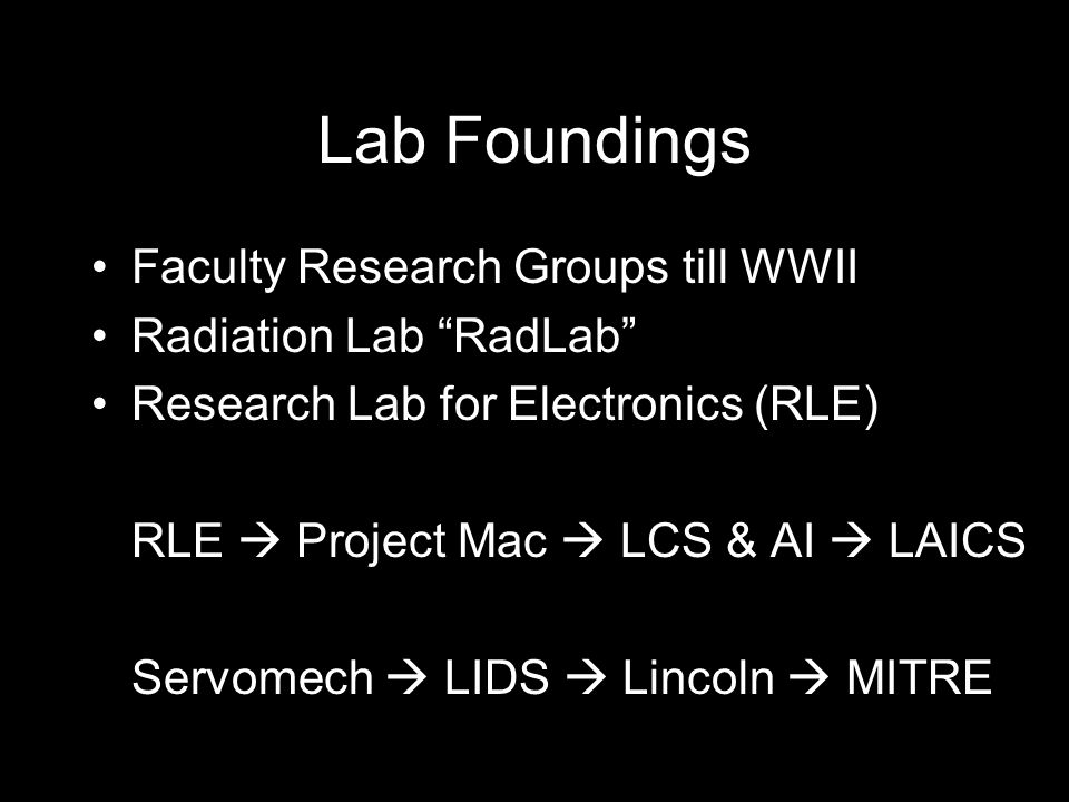 Lab Foundings Faculty Research Groups till WWII Radiation Lab RadLab Research Lab for Electronics (RLE) RLE  Project Mac  LCS & AI  LAICS Servomech  LIDS  Lincoln  MITRE