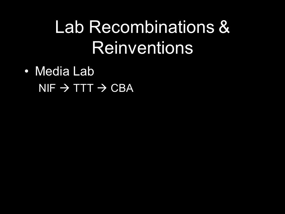 Lab Recombinations & Reinventions Media Lab NIF  TTT  CBA