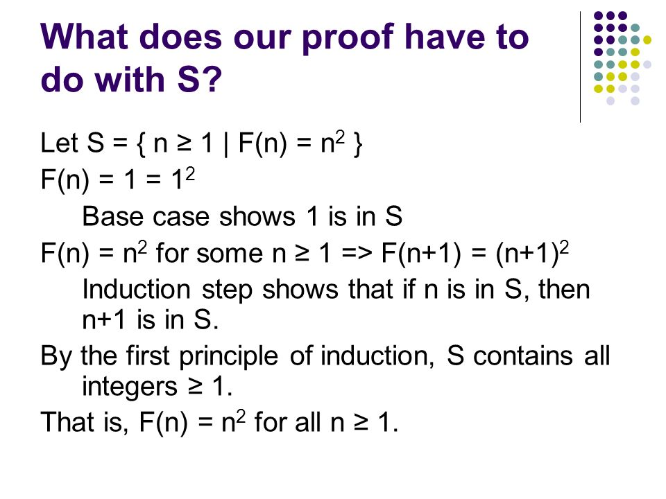 What does our proof have to do with S.