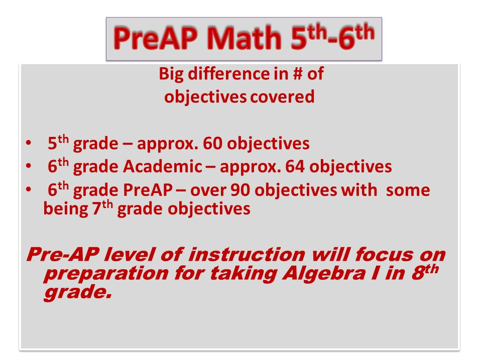 Big difference in # of objectives covered 5 th grade – approx.