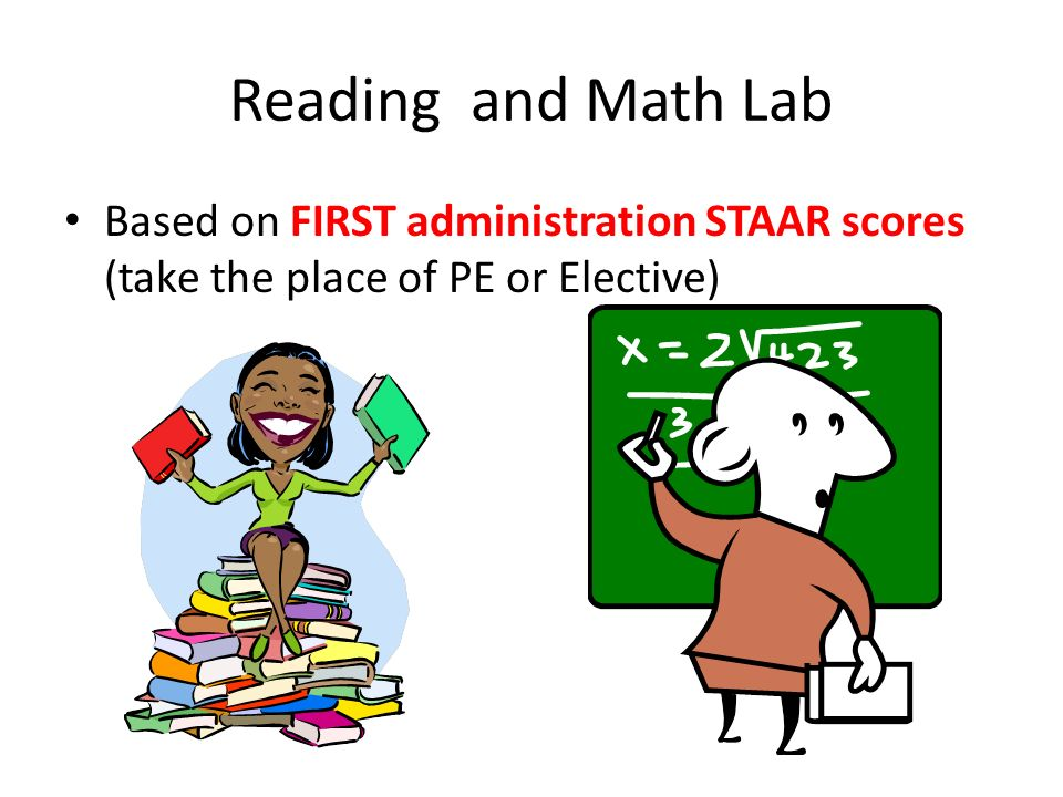 Reading and Math Lab Based on FIRST administration STAAR scores (take the place of PE or Elective)