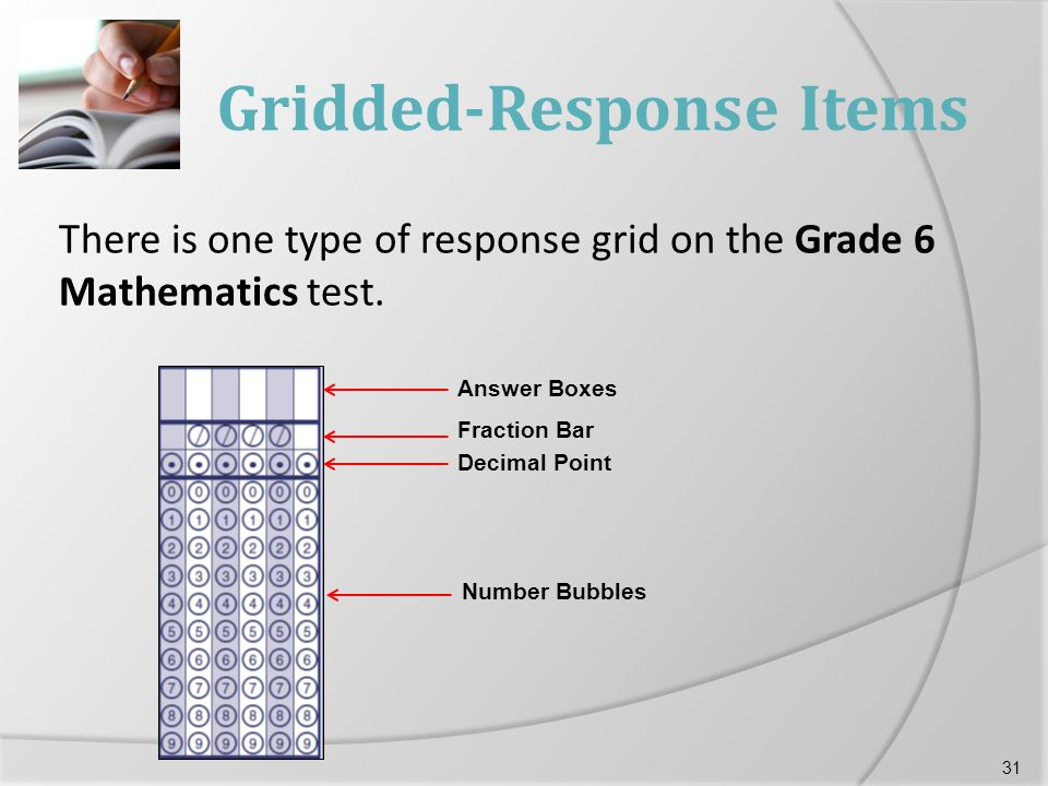 Gridded-Response Items There is one type of response grid on the Grade 6 Mathematics test.