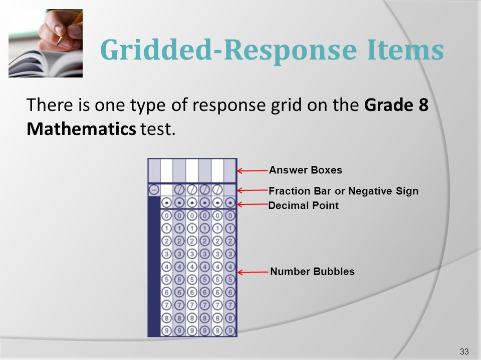 Gridded-Response Items There is one type of response grid on the Grade 8 Mathematics test.