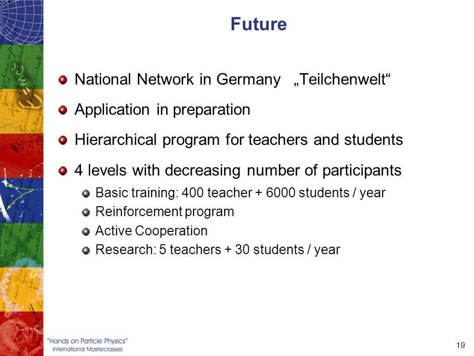 "19 Future National Network in Germany ""Teilchenwelt Application in preparation Hierarchical program for teachers and students 4 levels with decreasing number of participants Basic training: 400 teacher students / year Reinforcement program Active Cooperation Research: 5 teachers + 30 students / year"