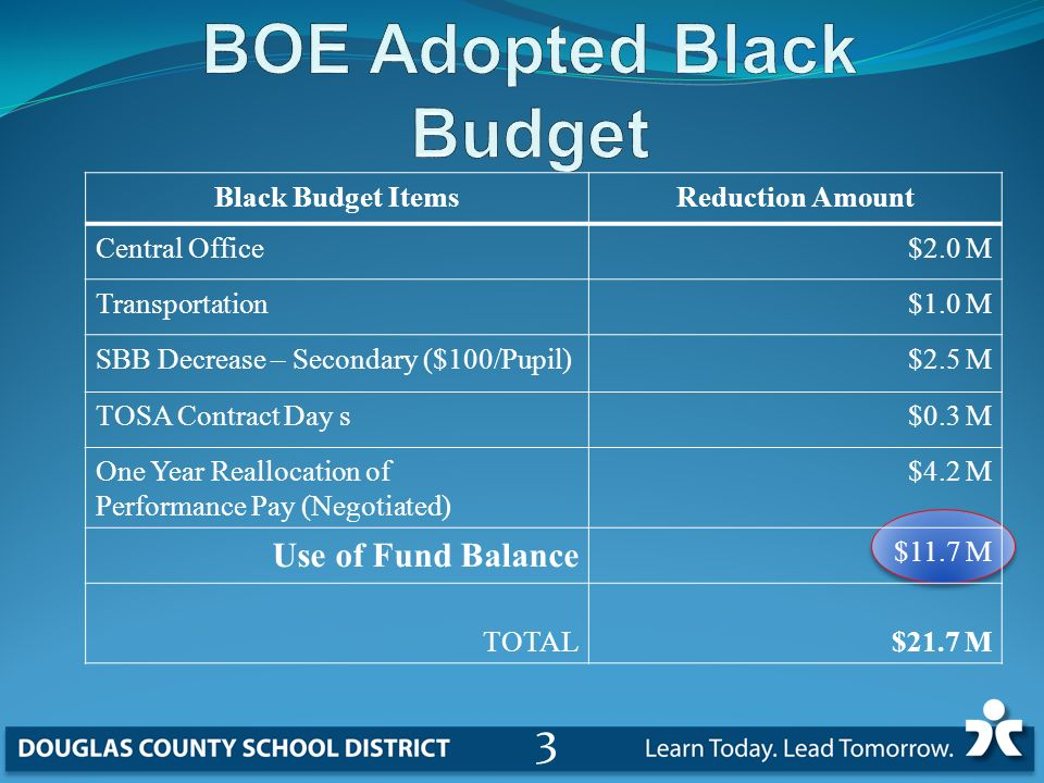 Black Budget ItemsReduction Amount Central Office$2.0 M Transportation$1.0 M SBB Decrease – Secondary ($100/Pupil)$2.5 M TOSA Contract Day s$0.3 M One Year Reallocation of Performance Pay (Negotiated) $4.2 M Use of Fund Balance $11.7 M TOTAL$21.7 M 3