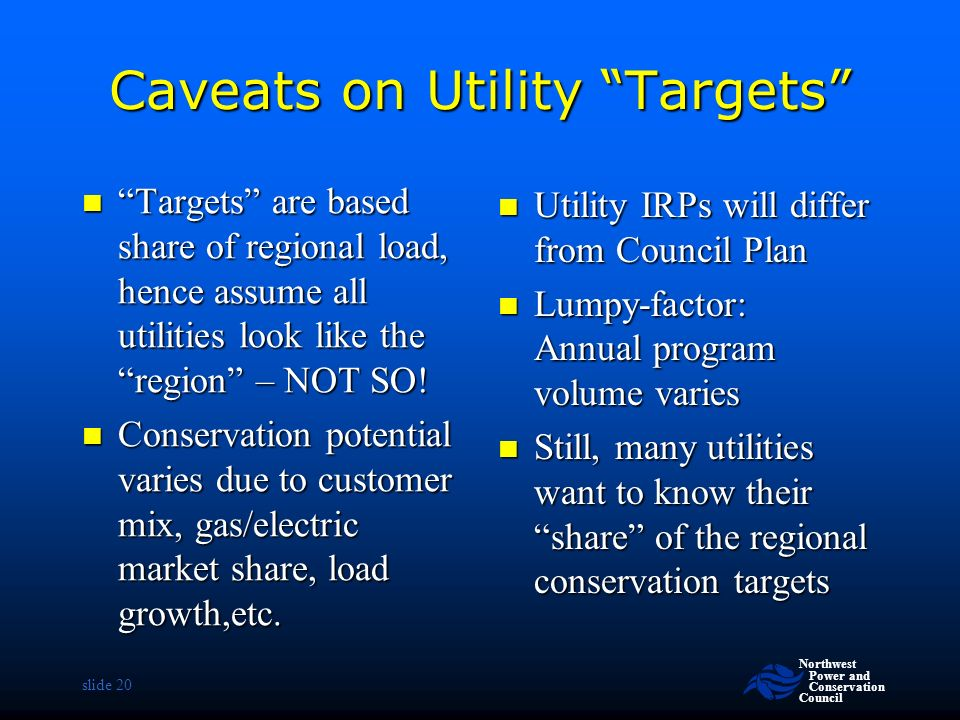 Northwest Power and Conservation Council slide 20 Caveats on Utility Targets Targets are based share of regional load, hence assume all utilities look like the region – NOT SO.
