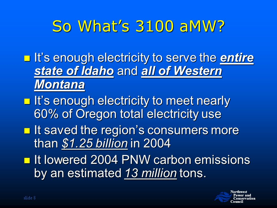 Northwest Power and Conservation Council slide 8 So What's 3100 aMW.
