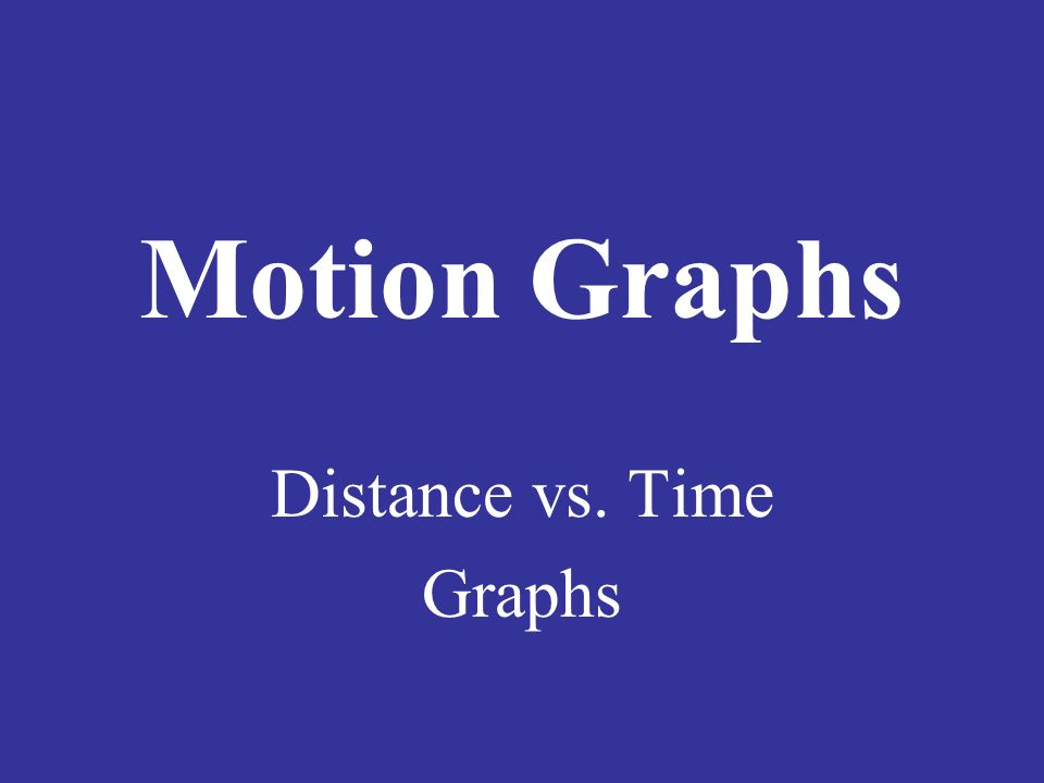 Motion Graphs Distance vs. Time Graphs