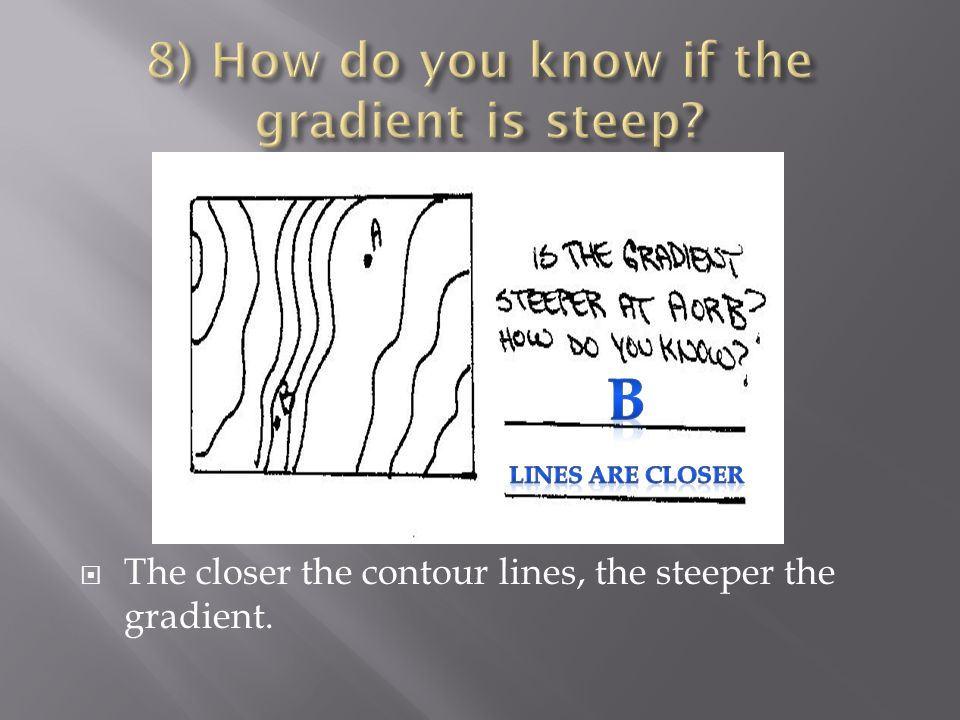  The closer the contour lines, the steeper the gradient.