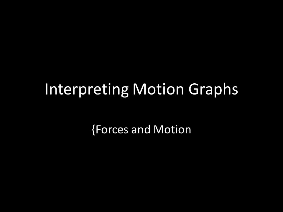 Interpreting Motion Graphs {Forces and Motion