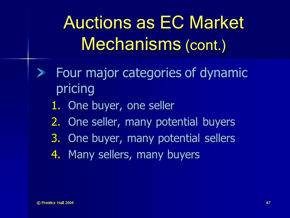 © Prentice Hall Auctions as EC Market Mechanisms (cont.) Four major categories of dynamic pricing 1.One buyer, one seller 2.One seller, many potential buyers 3.One buyer, many potential sellers 4.Many sellers, many buyers