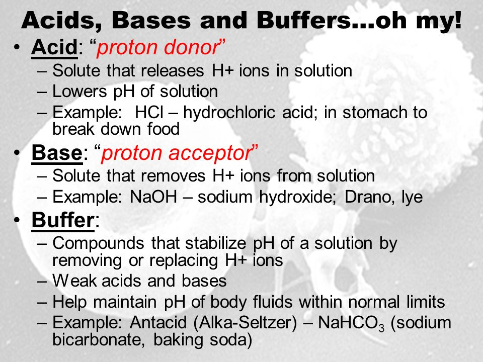Acids, Bases and Buffers…oh my.
