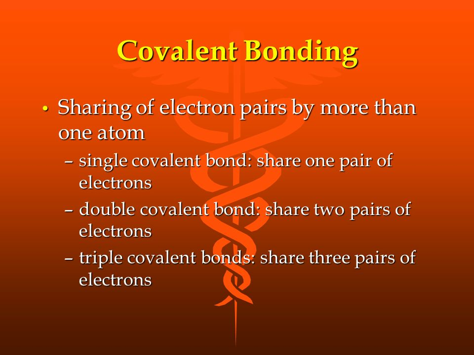 Covalent Bonding Sharing of electron pairs by more than one atom Sharing of electron pairs by more than one atom –single covalent bond: share one pair of electrons –double covalent bond: share two pairs of electrons –triple covalent bonds: share three pairs of electrons