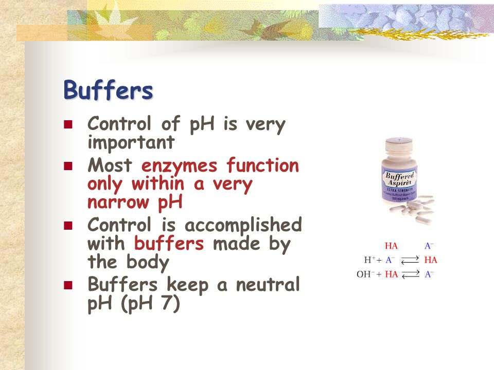 Buffers Control of pH is very important Most enzymes function only within a very narrow pH Control is accomplished with buffers made by the body Buffers keep a neutral pH (pH 7)