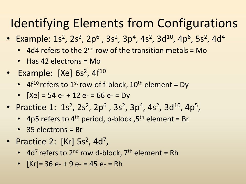 Identifying Elements from Configurations Example: 1s 2, 2s 2, 2p 6, 3s 2, 3p 4, 4s 2, 3d 10, 4p 6, 5s 2, 4d 4 4d4 refers to the 2 nd row of the transition metals = Mo Has 42 electrons = Mo Example: [Xe] 6s 2, 4f 10 4f 10 refers to 1 st row of f-block, 10 th element = Dy [Xe] = 54 e e- = 66 e- = Dy Practice 1: 1s 2, 2s 2, 2p 6, 3s 2, 3p 4, 4s 2, 3d 10, 4p 5, 4p5 refers to 4 th period, p-block,5 th element = Br 35 electrons = Br Practice 2: [Kr] 5s 2, 4d 7, 4d 7 refers to 2 nd row d-block, 7 th element = Rh [Kr]= 36 e- + 9 e- = 45 e- = Rh