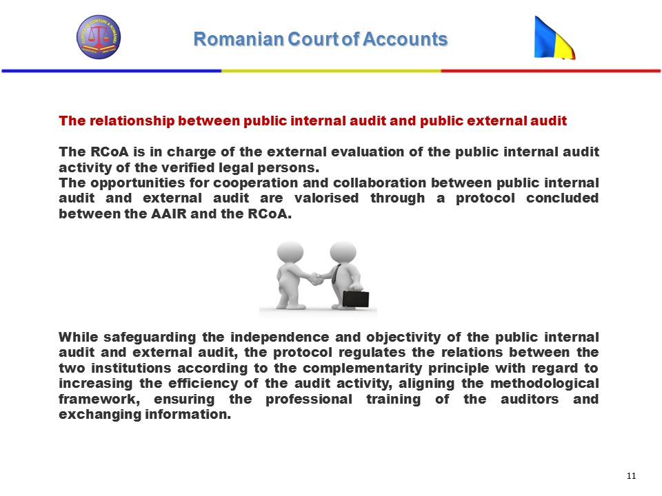 Romanian Court of Accounts 11 The relationship between public internal audit and public external audit The RCoA is in charge of the external evaluation of the public internal audit activity of the verified legal persons.