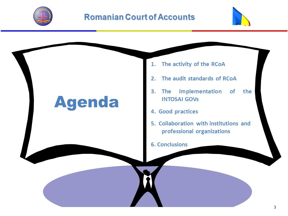 Romanian Court of Accounts 3 Agenda 1.The activity of the RCoA 2.The audit standards of RCoA 3.The implementation of the INTOSAI GOVs 4.