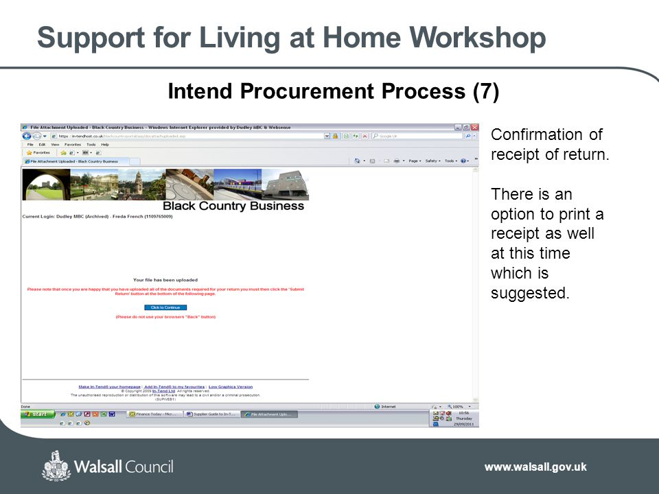 Support for Living at Home Workshop Intend Procurement Process (7) Confirmation of receipt of return.