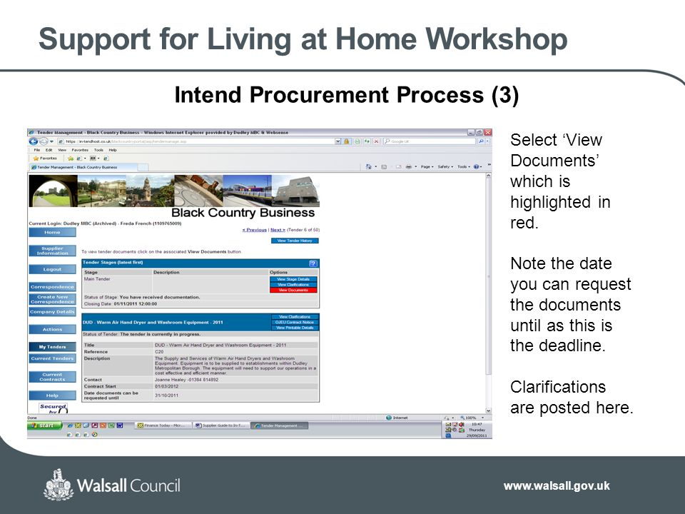 Support for Living at Home Workshop Intend Procurement Process (3) Select 'View Documents' which is highlighted in red.