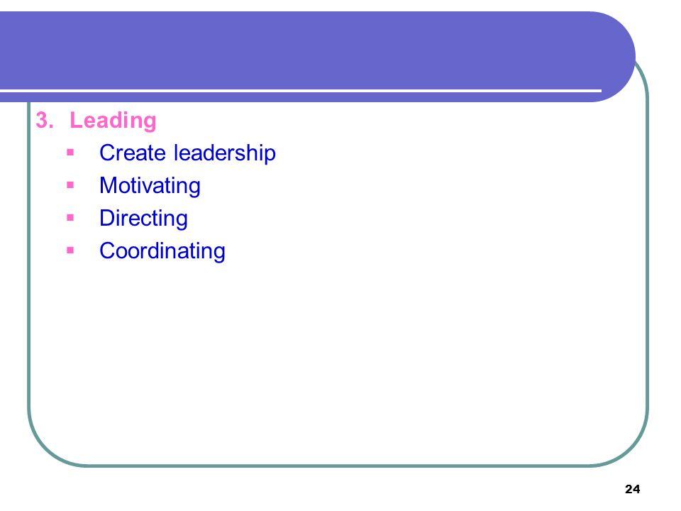 24 3.Leading  Create leadership  Motivating  Directing  Coordinating