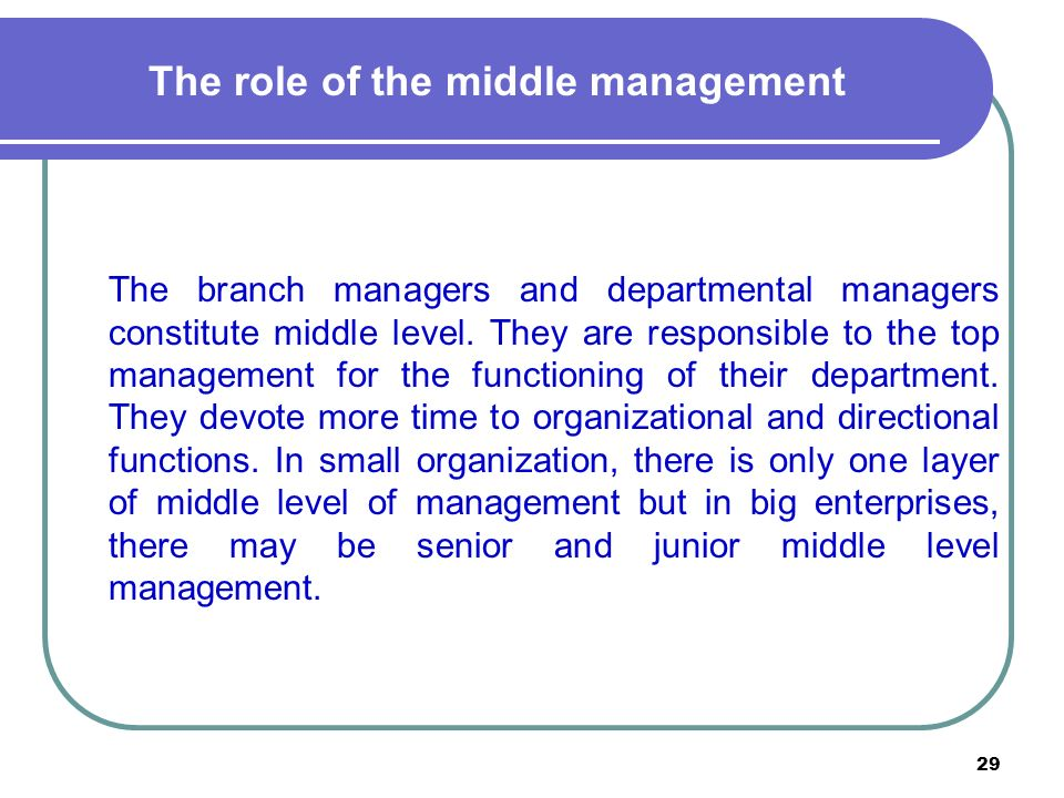 29 The role of the middle management The branch managers and departmental managers constitute middle level.