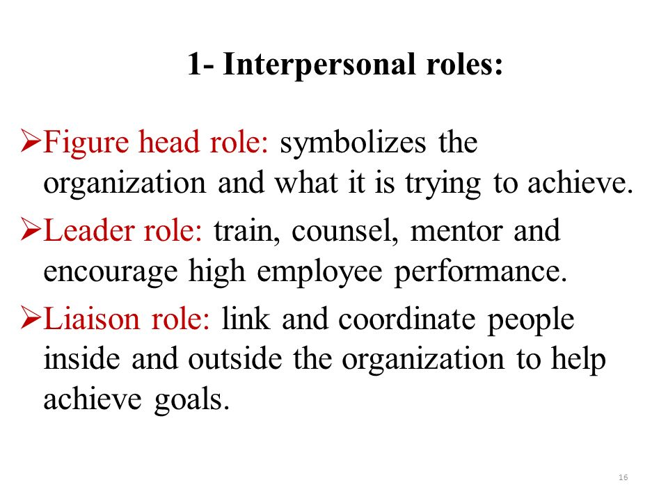 16  Figure head role: symbolizes the organization and what it is trying to achieve.