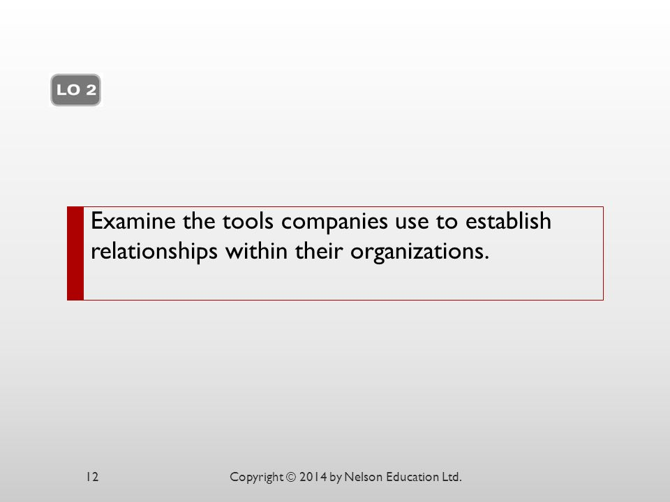 Examine the tools companies use to establish relationships within their organizations.