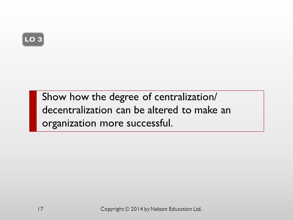 Show how the degree of centralization/ decentralization can be altered to make an organization more successful.