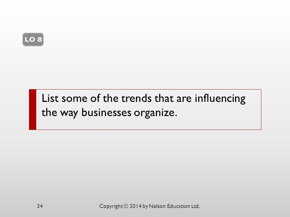 List some of the trends that are influencing the way businesses organize.
