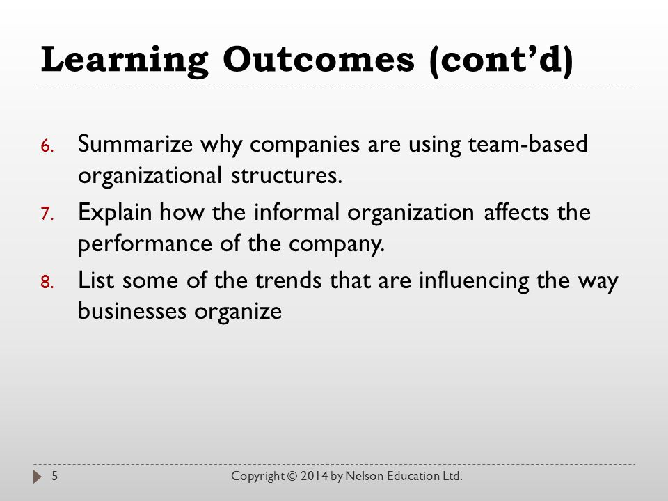 Learning Outcomes (cont'd) 6.