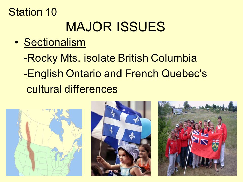 Station 10 MAJOR ISSUES Sectionalism -Rocky Mts.