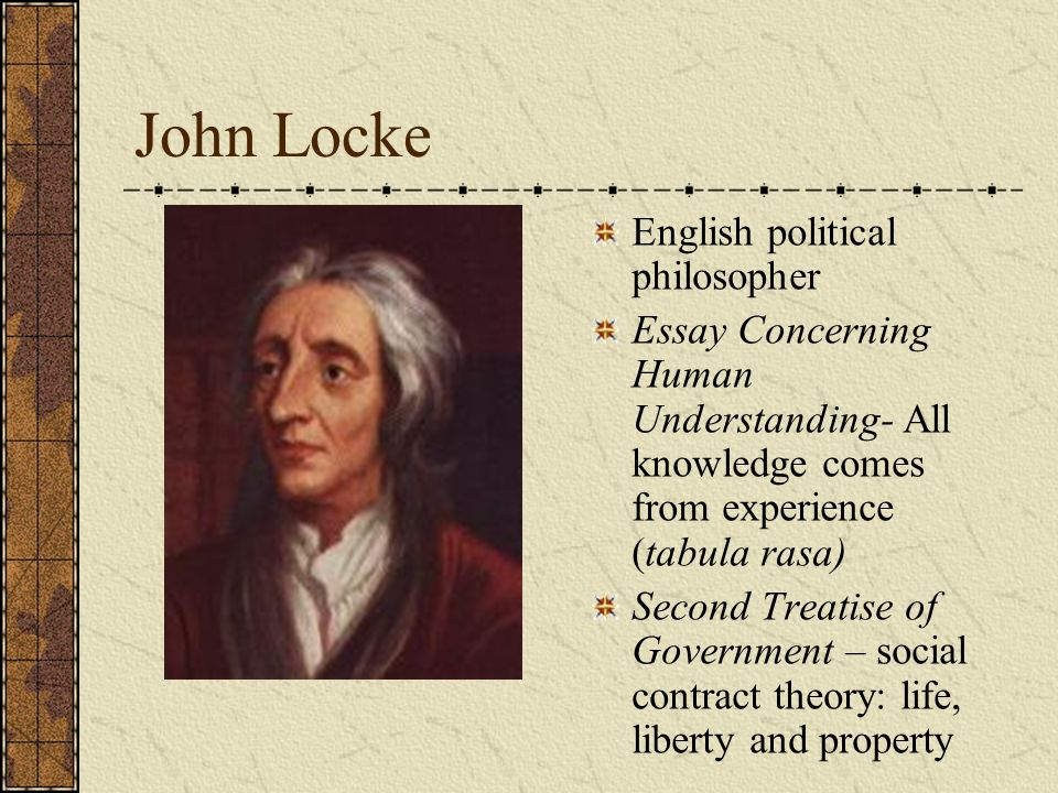 lockes essay concerning human understanding The continuation of our discussion of john locke's essay concerning human understanding, focusing on his discussion of the origins of simple ideas in book ii, ch's i-vii.