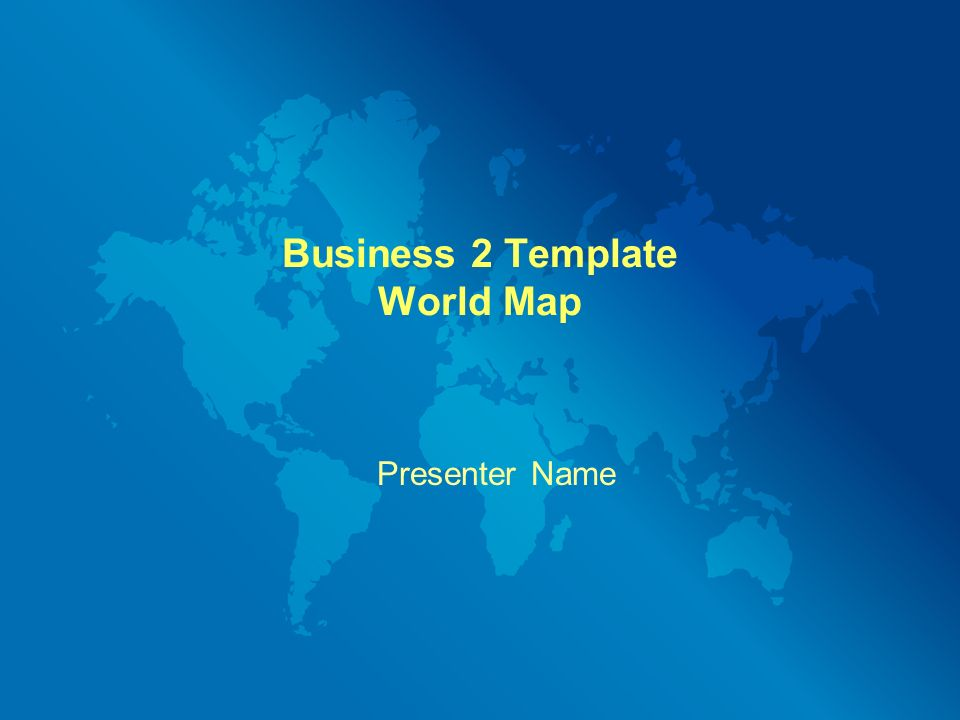 Business 2 Template World Map Presenter Name