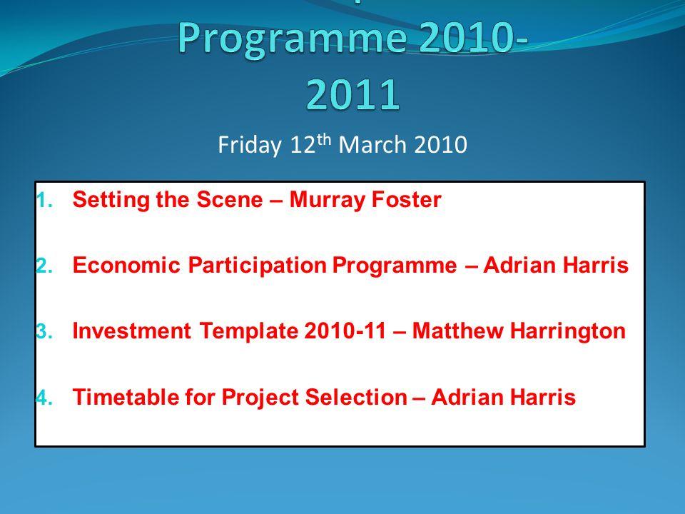 Setting the Scene – Murray Foster 2. Economic Participation Programme – Adrian Harris
