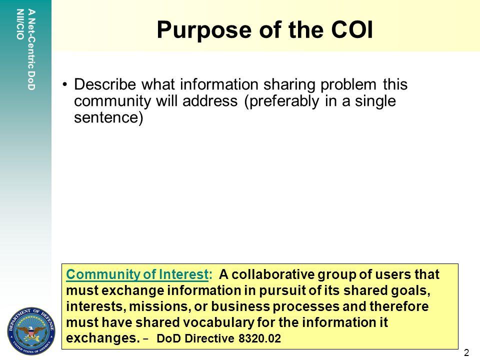 a net-centric dod nii/cio 1 sample template community of interest, Presentation templates