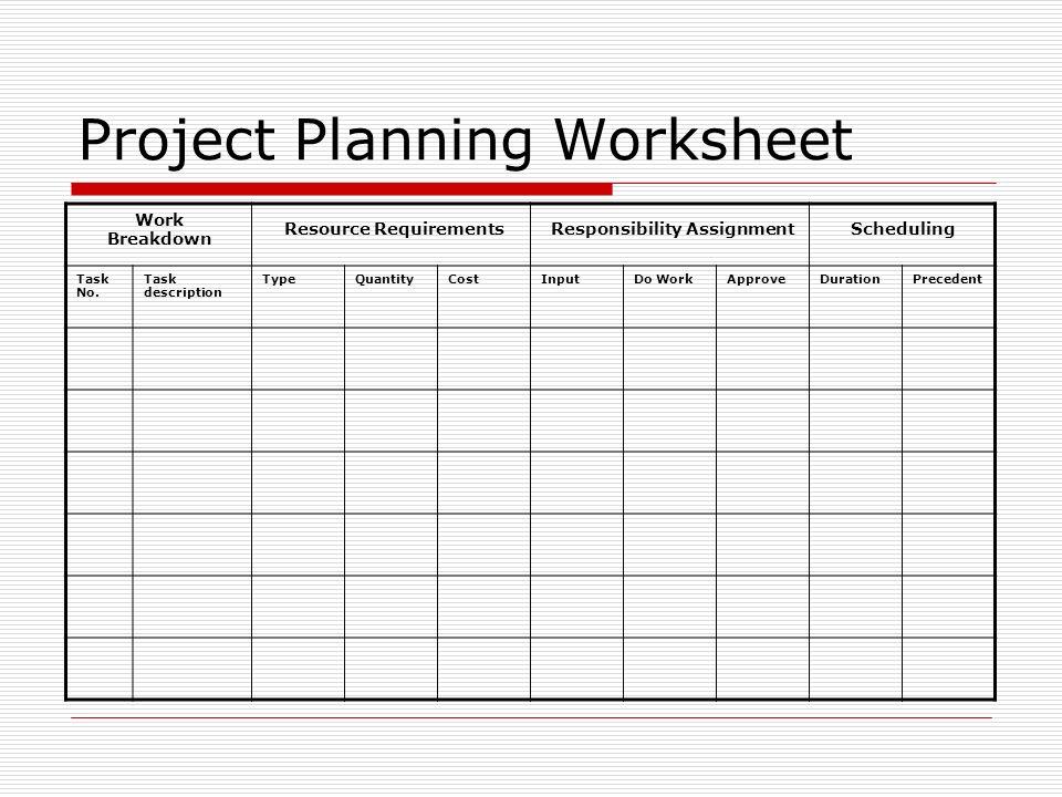 project planning worksheet juve cenitdelacabrera co