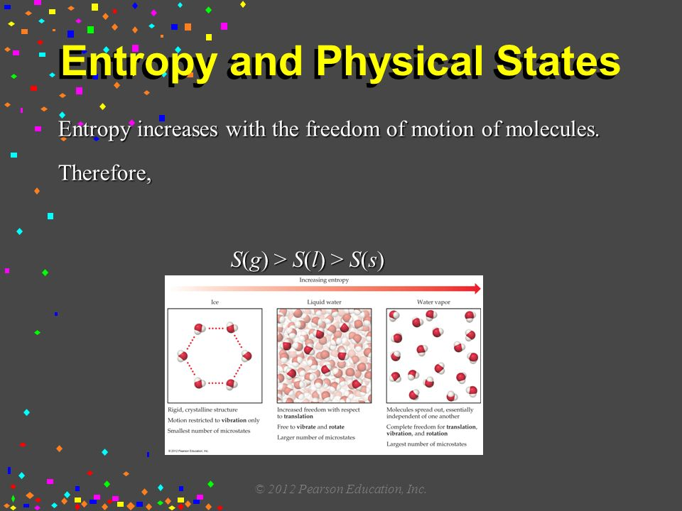 Entropy and Physical States Entropy increases with the freedom of motion of molecules.
