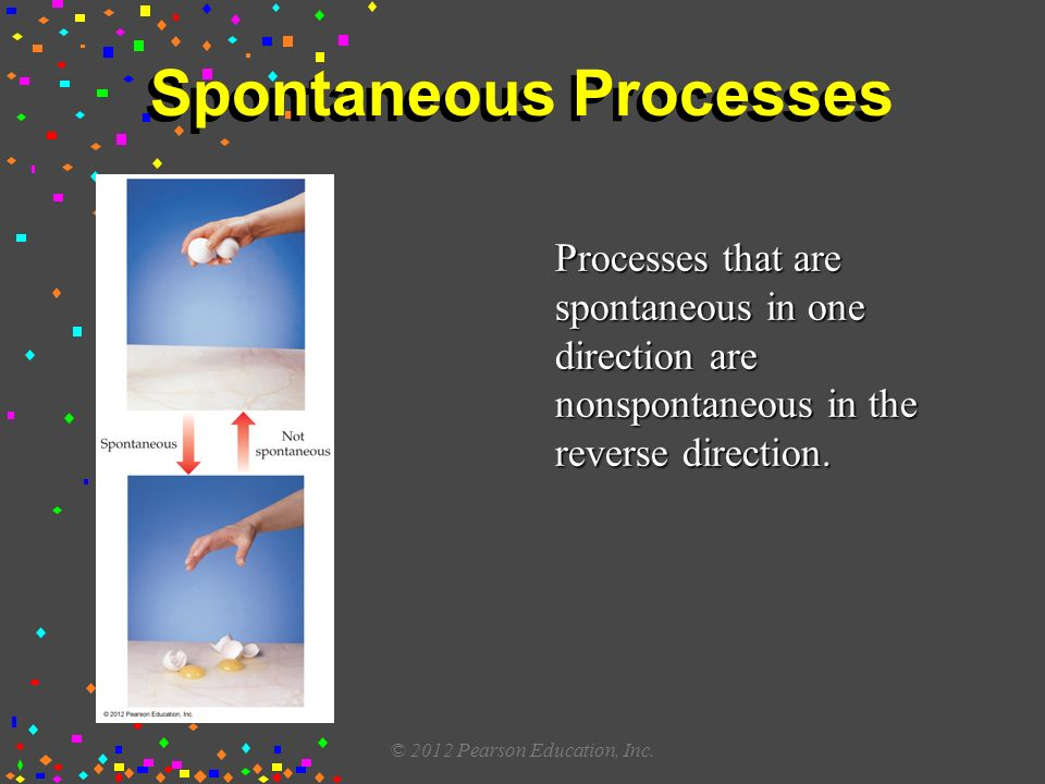 Spontaneous Processes Processes that are spontaneous in one direction are nonspontaneous in the reverse direction.