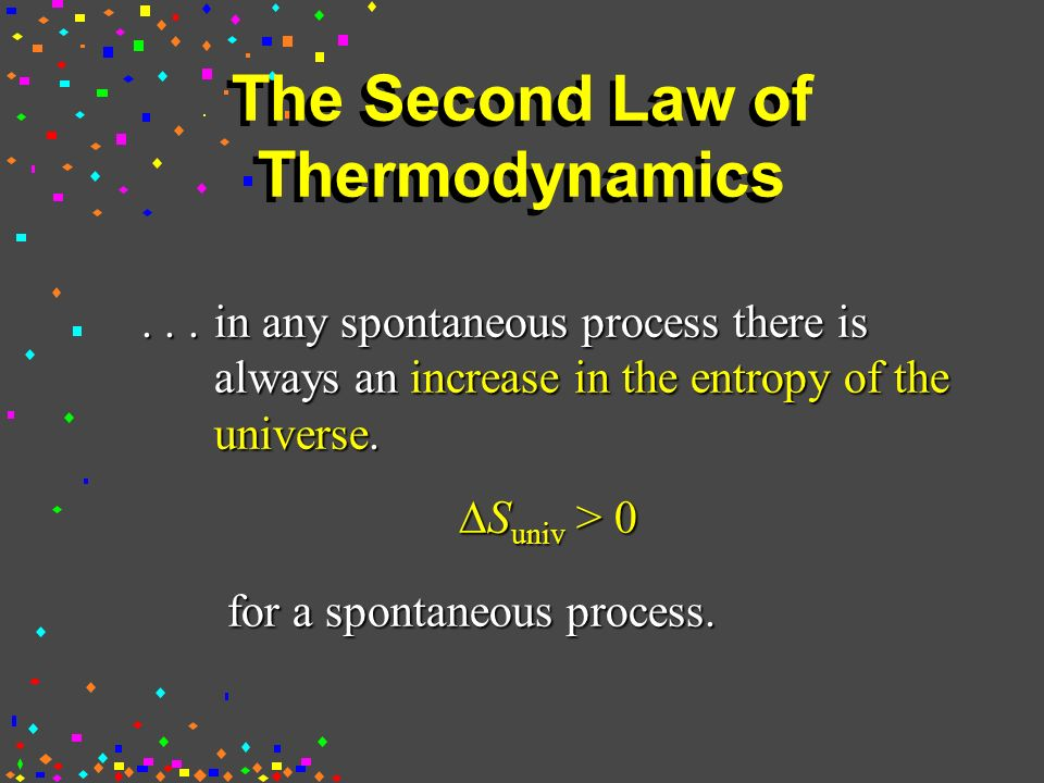 The Second Law of Thermodynamics...in any spontaneous process there is always an increase in the entropy of the universe.