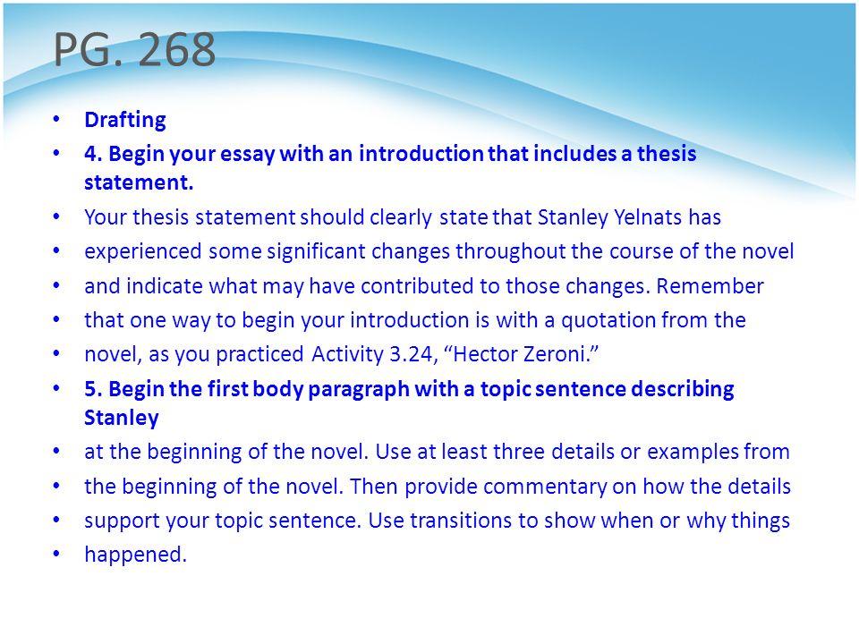 holes novel essay questions
