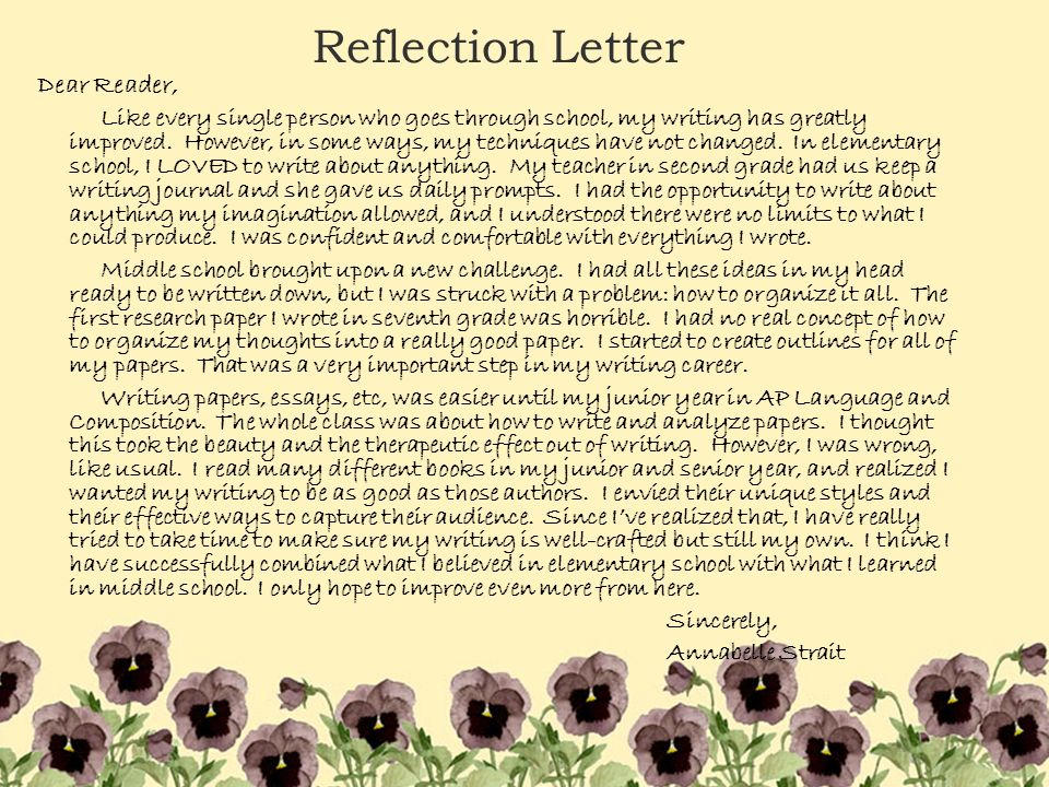 How do I start to write a Reflection Letter for my English Portfolio?