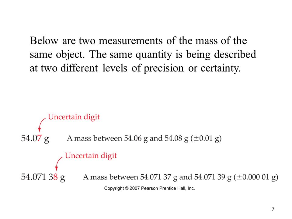 7 Below are two measurements of the mass of the same object.