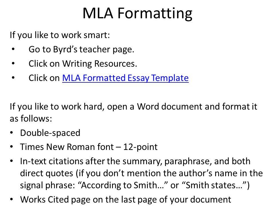 mla descriptive essay format