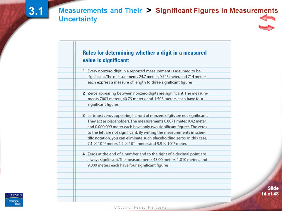 © Copyright Pearson Prentice Hall Measurements and Their Uncertainty > Slide 14 of 48 Significant Figures in Measurements 3.1