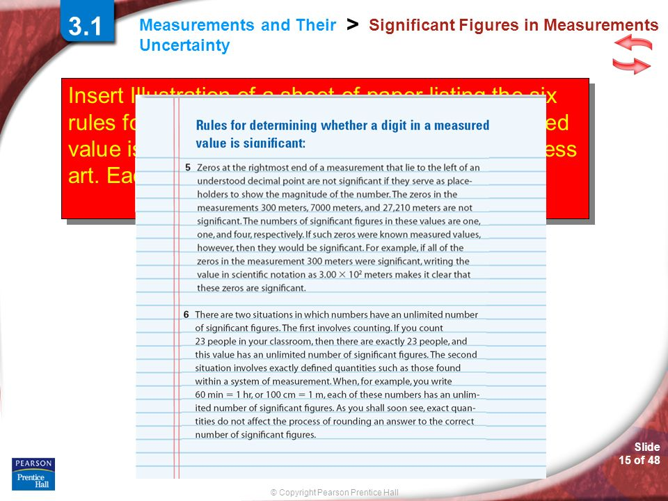 © Copyright Pearson Prentice Hall Measurements and Their Uncertainty > Slide 15 of 48 Insert Illustration of a sheet of paper listing the six rules for determining whether a digit in a measured value is significant.