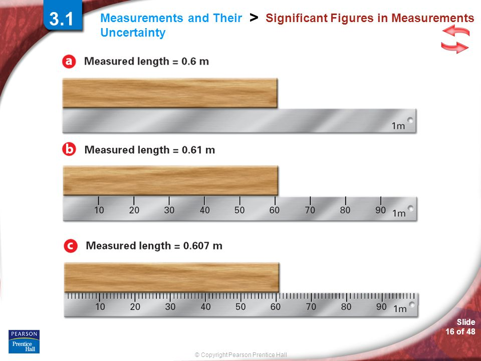 © Copyright Pearson Prentice Hall Measurements and Their Uncertainty > Slide 16 of 48 Significant Figures in Measurements 3.1