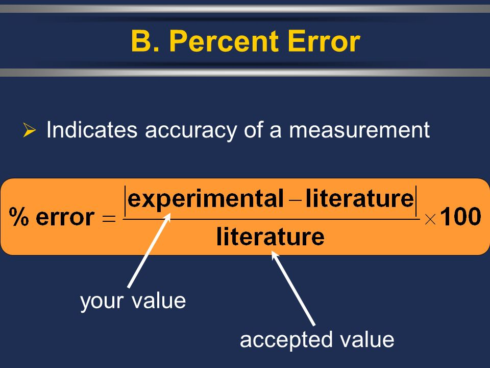 B. Percent Error  Indicates accuracy of a measurement your value accepted value