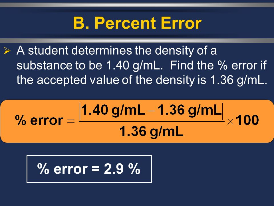 B. Percent Error  A student determines the density of a substance to be 1.40 g/mL.