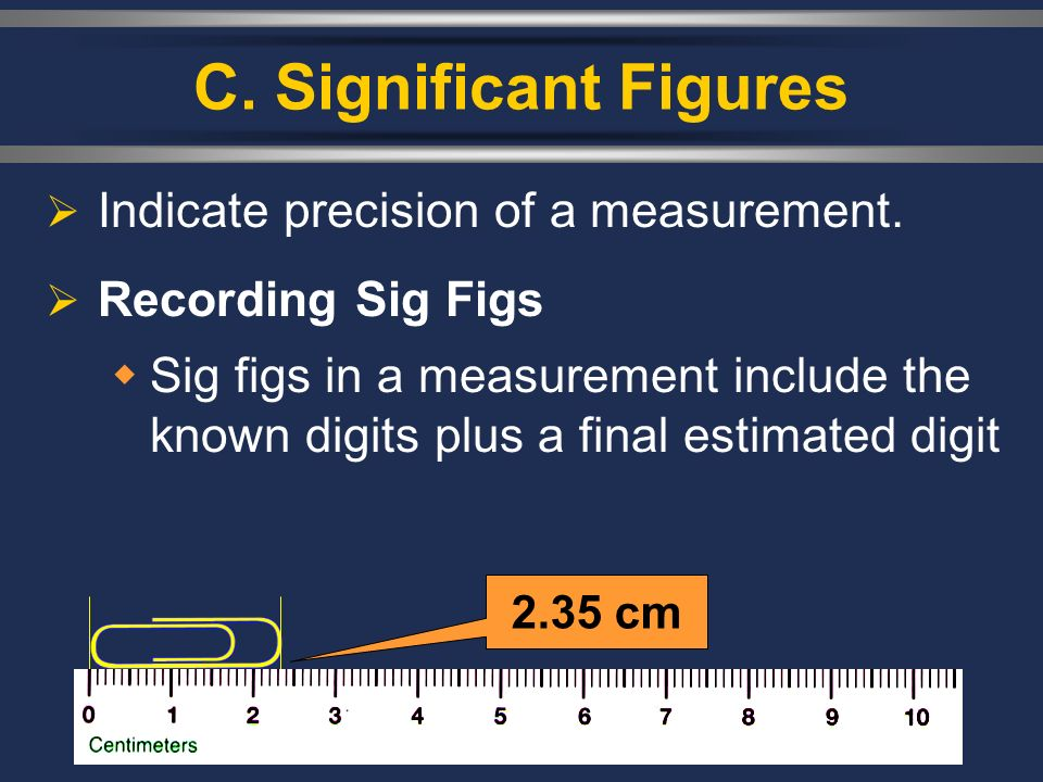 C. Significant Figures  Indicate precision of a measurement.