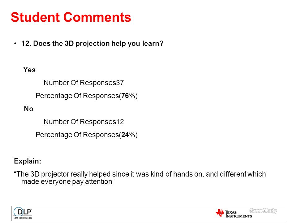 Student Comments 12. Does the 3D projection help you learn.